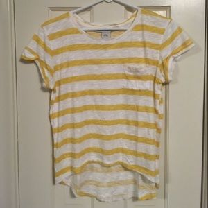 Yellow and White striped short sleeve shirt!